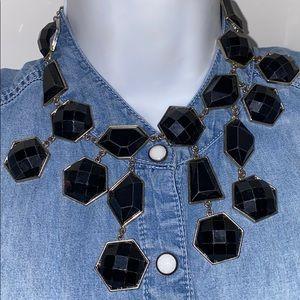 H&M black gold tone Statement Necklace